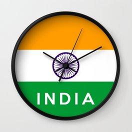 India country flag name text Wall Clock