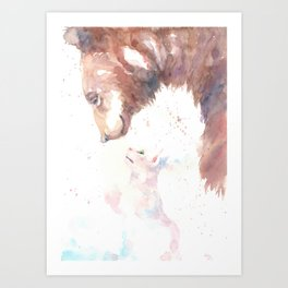 The bear, the cat and the tree of truth Art Print