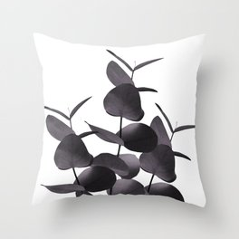 Eucalyptus Leaves Black White #1 #foliage #decor #art #society6 Throw Pillow