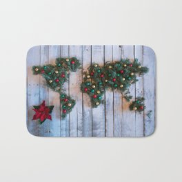 Joy to the World Holiday Map Art Bath Mat