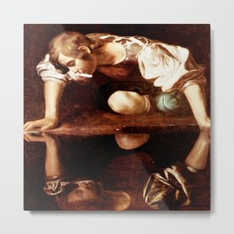 Michelangelo Merisi da Caravaggio, Narcissus at the Source, oil on canvas, 1597-99 Metal Print