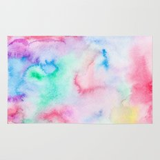 Bright abstract pink blue hand painted watercolor Rug