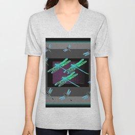 Western Black-Grey Blue Dragonflies Art Unisex V-Neck