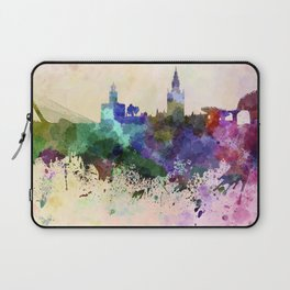 Seville skyline in watercolor background Laptop Sleeve
