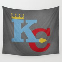 sports Wall Tapestries featuring Kansas City Sports Red & Blue by Haley Jo Phoenix