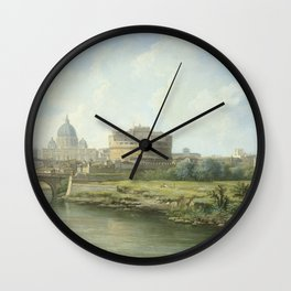 Pierre Antoine Demachy - View Of The Castel Santangelo In Rome. Wall Clock