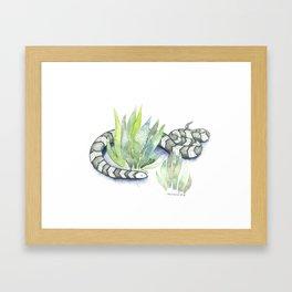Snake in Plants Framed Art Print