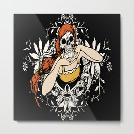 Skull Girl Floral Illustration Metal Print