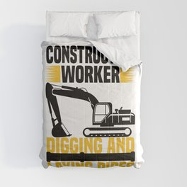 Construction worker digging and laying pipes  TShirt Construction Worker Shirt Construction Site Comforters