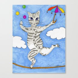 High-Wire Cat Act Canvas Print