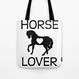 Horse Lover I Love Horses Gift For Rider Black Tote Bag