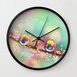 Rainbow Smoke Drops Wall Clock
