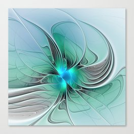 Abstract With Blue 2, Fractal Art Canvas Print