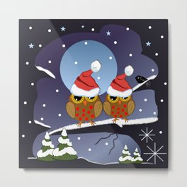 Owls with Santa hats in a snowy world Metal Print