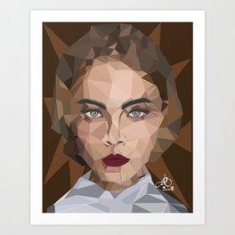 Cara Delevingne Poly Art Art Print