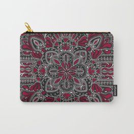 Red white mandala on black Carry-All Pouch