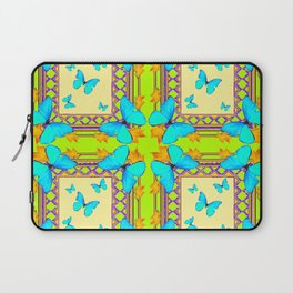 Southwestern  Lime & Turquoise Butterflies Gold Patterns Art Laptop Sleeve