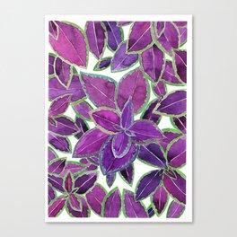 Purple leaves watercolor Canvas Print