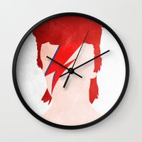 aladdin Wall Clocks featuring Aladdin Sane by Vito Spatafora