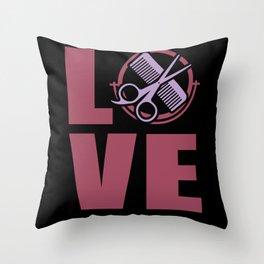 Hairstylist Love Föhn Spiegel Kamm Throw Pillow