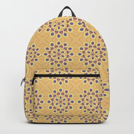 Retro Blue and Tan Floral Pattern Backpack