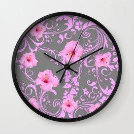 DECORATIVE  PINK AMARYLLIS BROCADE FLORAL GREY ART Wall Clock
