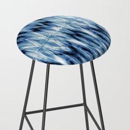 Blue Satin Shibori Argyle Bar Stool