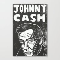 johnny cash Canvas Prints featuring Johnny Cash by Peter Dunne