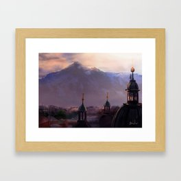 Overlooking the Mountain Town Framed Art Print