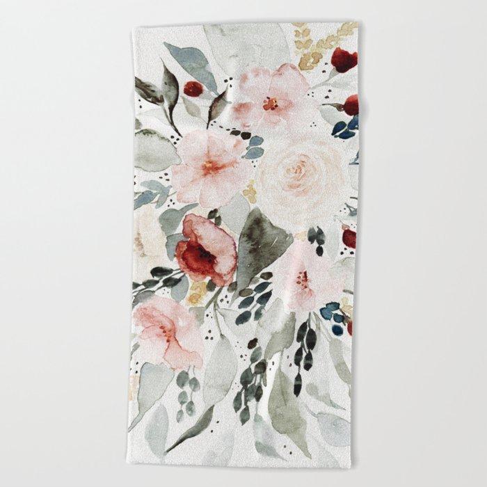 Loose Watercolor Bouquet Beach Towel