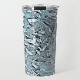 Ocean Tips Silver Blue Abstract Travel Mug