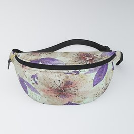 Brown flowers with purple leaves Fanny Pack