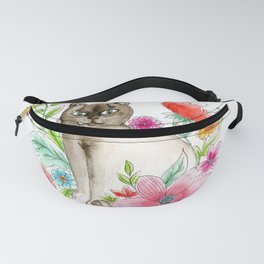 Cat and flowers Fanny Pack
