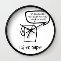toilet Wall Clocks featuring TOILET PAPER  by d.ts