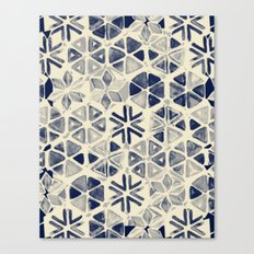Hand Painted Triangle & Honeycomb Ink Pattern - indigo & cream Canvas Print