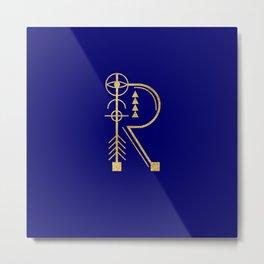 Sacred Geometry Letter R Metal Print