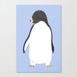 Penguin Love - Blue Canvas Print