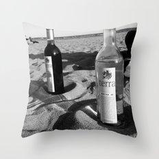 Vino On The Beach Throw Pillow