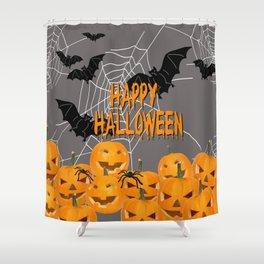 Pumpkins Happy Halloween Illustration Shower Curtain