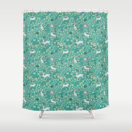 Spring Pattern of Bunnies with Turtles Shower Curtain