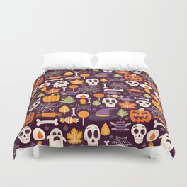 Retro Halloween Trick-Or-Treat Collage Duvet Cover