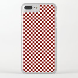 Vintage New England Shaker Barn Red and White Milk Paint Large Square Checker Pattern Clear iPhone Case