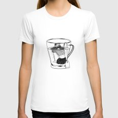 Tea Time LARGE White Womens Fitted Tee