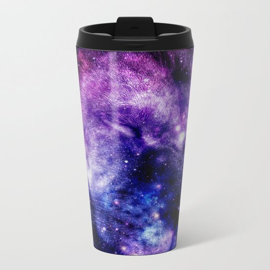 Lion Leo purple blue Metal Travel Mug
