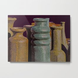 Mexican Made Clay Pottery in New Mexico Metal Print
