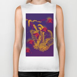 Red radioactive butterflies in glowing landscape Biker Tank