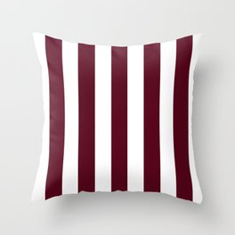 Dark scarlet purple - solid color - white vertical lines pattern Throw Pillow