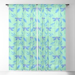 Pretty beautiful dragonflies, leaves elegant stylish light mint green nature plant insect pattern Sheer Curtain