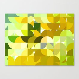 Pale Yellow Poinsettia 1 Abstract Circles 1 Canvas Print