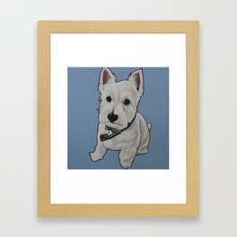 "West Highland White Terrier ""Westie"" on Light Blue background  Framed Art Print"
